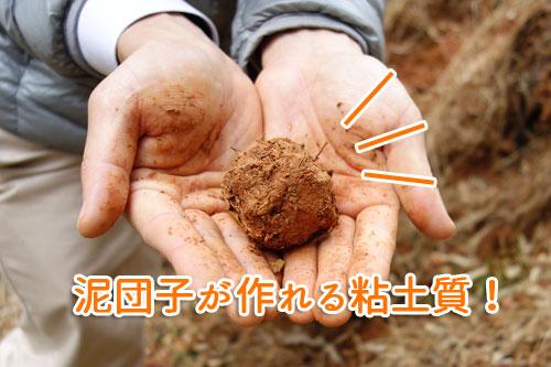 簡単に泥団子が作れるほどの粘土質